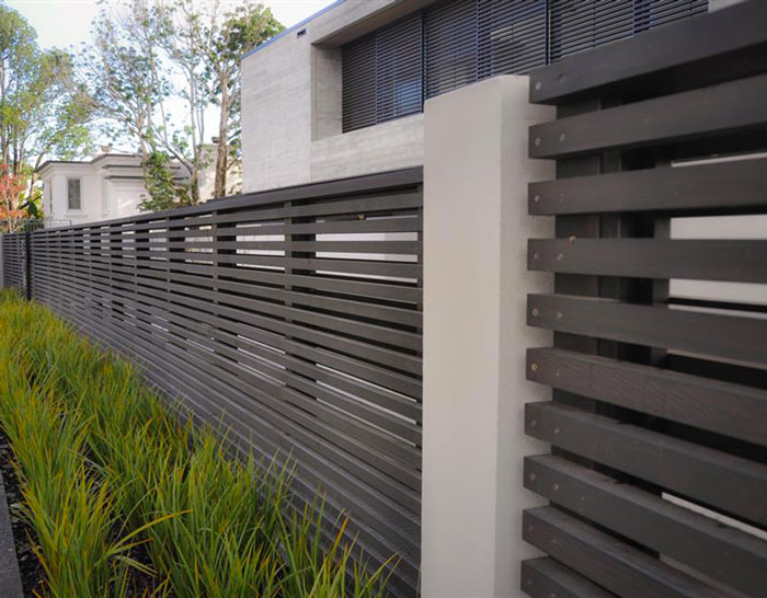 Black Stained Wood Fence